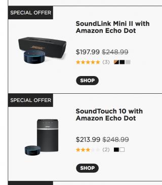 Bose SoundLink mini Ⅱ と SoundTouch 10 が Amazon Echo Dot とバンドル販売中!(米国の話です)