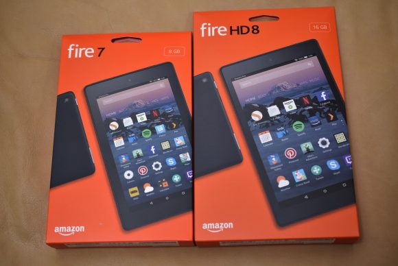 Fire7とFireHD8 パッケージ比較