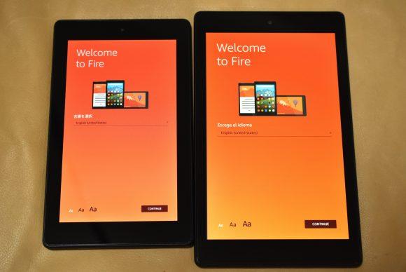 FireHD8 とFire7のディスプレー発色の比較