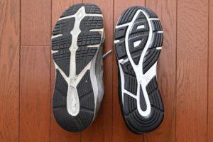 MW880BK4とMW880SG3との靴底比較。