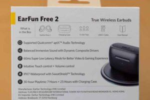 EarFun Free 2 の外箱裏の説明